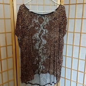 Covington Short Sleeved Snakeskin Print Top 2X